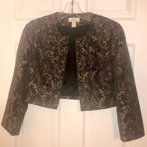 Black and Gold Bolero Jacket by Ann Taylor, Size 0